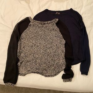 • UO • (2) Mesh Sleeve Knit Sweaters
